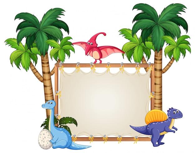 白紙の横断幕に恐竜