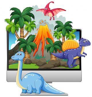 コンピューター画面の背景に恐竜