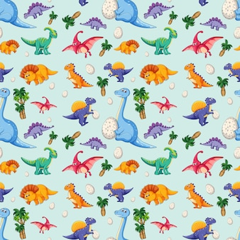 Dinosaur on seamless pattern