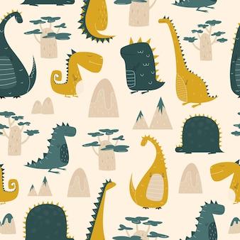Шаблон динозавра для детских фонов и принтов в мультяшном стиле