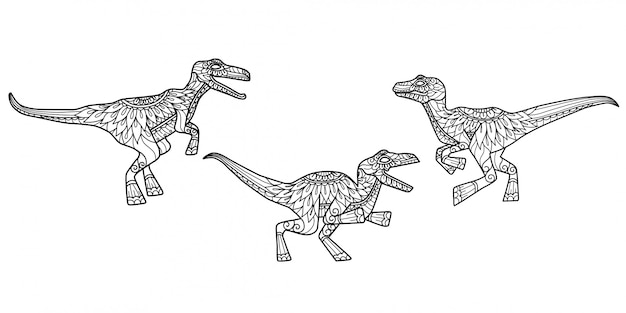 Dinosaur pattern. hand drawn sketch illustration for adult coloring book