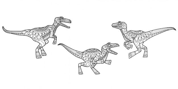 Образец динозавра. нарисованная рукой иллюстрация эскиза для взрослой книжки-раскраски