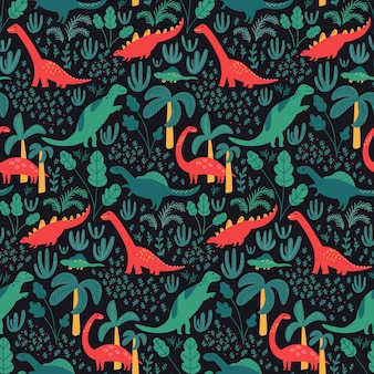Dinosaur pattern for kids fabric or nursery wallpaper  jungle palms and tropical leaves