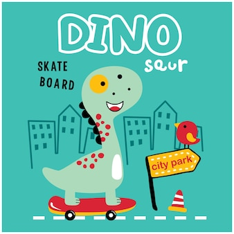 공룡 놀이 스케이트보드 재미 있은 동물 만화
