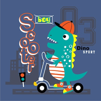 Dinosaur playing scooter