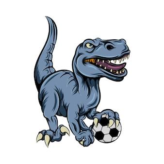 Динозавр играет в футбол для вдохновения талисмана футбольного клуба
