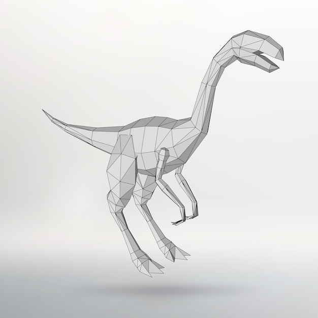 恐竜ポリゴンの三角形。ポリゴンの構造グリッド。抽象的な創造的な概念ベクトルの背景。