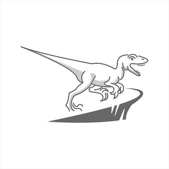 恐竜ラプター古代先史時代の動物ベクトル獣爬虫類モンスターイラストグラフィックラインa