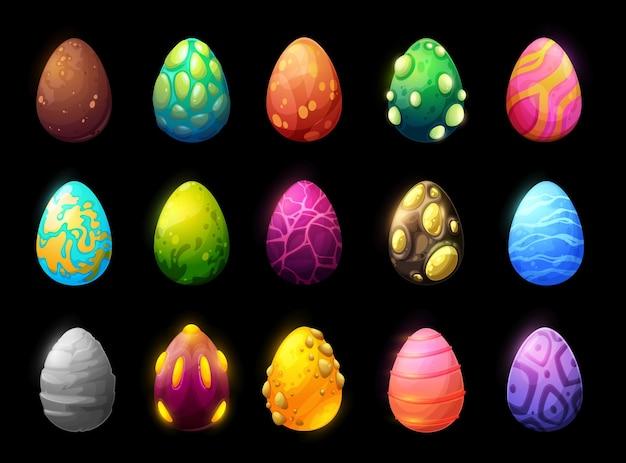Dinosaur and reptile cartoon eggs, game asset set