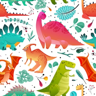 Dinosaur seamless pattern. dino textile print dragon funny monsters cute animals kids wallpaper color dinosaurs cartoon  texture