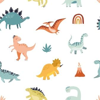恐竜のシームレスなパターン。ラッピングやテキスタイルデザインの手描きベクトルイラスト