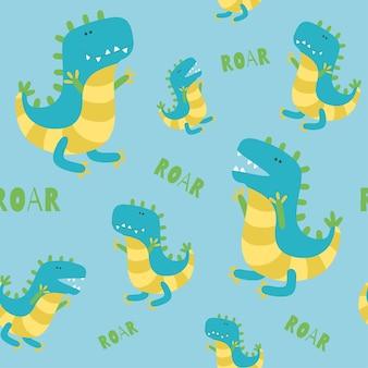 青い背景の上の恐竜のシームレスなパターンとどろく恐竜漫画スタイルのベクトル図