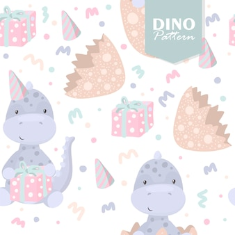 Dinosaur seamless pattern with eggs and gifts