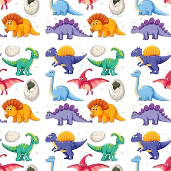 A dinosaur on seamless pattern