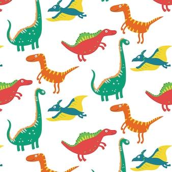 Бесшовный узор из динозавров