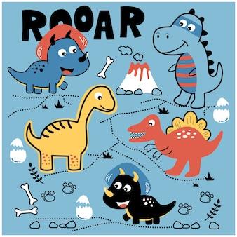 공룡 세트 디자인 재미 있은 동물 만화