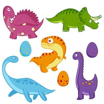 Набор динозавров. забавный красочный динозавр в мультяшном стиле. животное юрского периода. вектор.