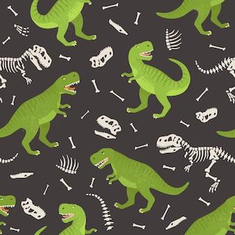 恐竜の骨格のシームレスなグランジパターン。