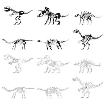 Набор силуэтов вектора скелеты динозавров черный, изолированные на белом фоне.