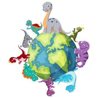 Dinosaur standing around the world