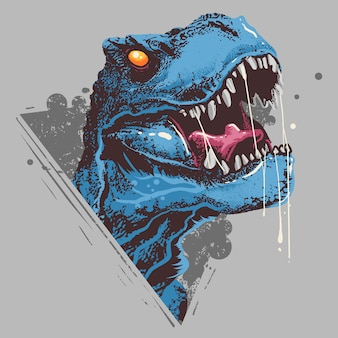 Dinosaur t-rex head angry artwork вектор