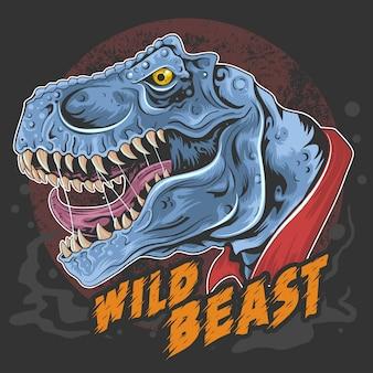 Dinosaur t rex head wild beast roar rage face element Premiumベクター