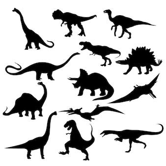 恐竜t-rexステゴサウルストリケラトプステロダクティルスピノサウルスアパトサウルスアロサウルスカルノタウルスアンキロサウルスvelociraptorsilhouettesセット