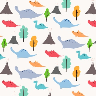 Dinosaur vector pattern background.
