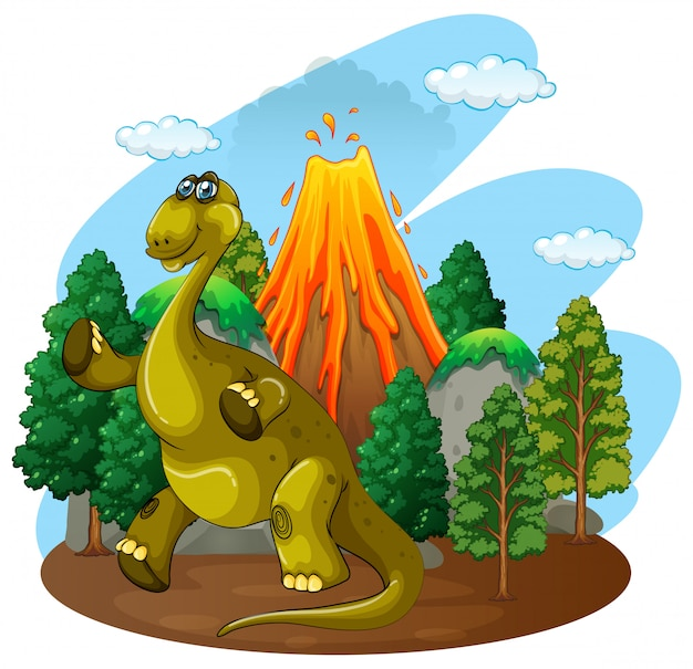 Dinosaur and volcano eruption