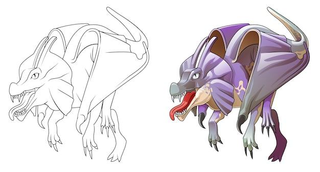 Раскраска мультяшный динозавр с крылом для детей
