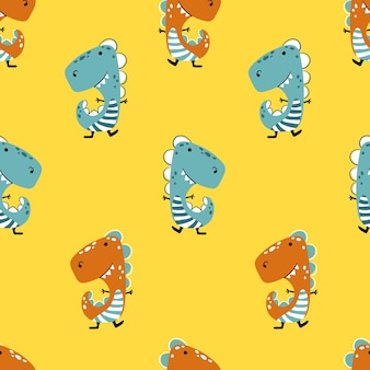 Dinosaur on a yellow background.  seamless pattern in funny children cartoon hand-drawn style