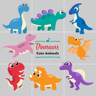 Dinosaurs cartoon animals cute style collection set.