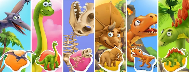 Dinosaurs cartoon character. brachiosaurus, pterodactyl, tyrannosaurus rex, dinosaur skeleton, triceratops, stegosaurus.