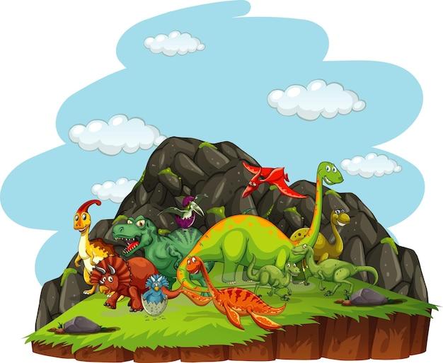 자연 장면에서 공룡 만화 캐릭터