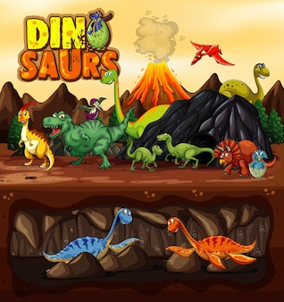 Dinosaurs cartoon character in nature scene