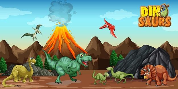 Personaggio dei cartoni animati di dinosauri nella scena della natura