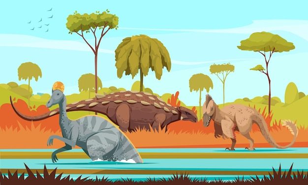 Cartone animato di dinosauri colorato con carnivori utahraptor e erbivori corythosaurus personaggi illustrazione
