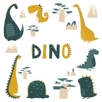 Dinosaurs in cartoon flat style for kids print
