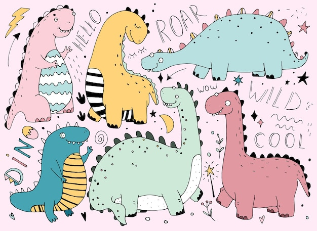 Dinosaurs in cartoon scandinavian style linedrawing,  bright color. colorful cute baby illustration