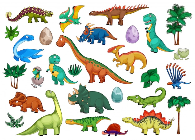 Dinosaurs cartoon set with cute dino animals