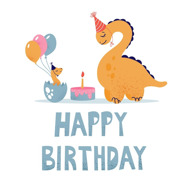 Dinosaurs celebrate their birthday with a cake and balloons