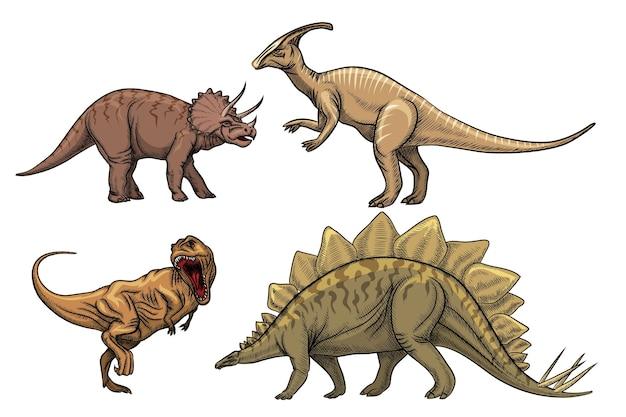 恐竜の文字セット。プレデターティラノサウルス、トリケラトプス、ヴェロキラプトル