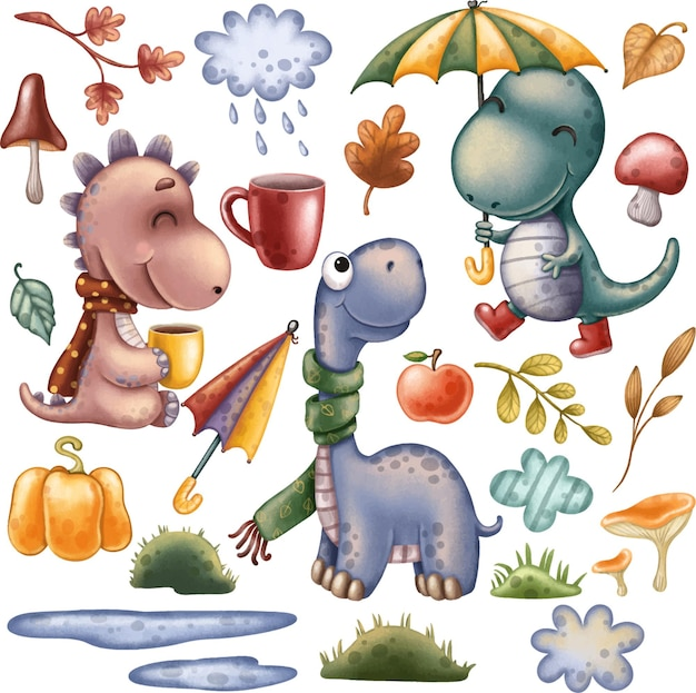 Dinosaurs clipart autumn set with cute dinosaurs and decor elements with leaves rain pumpkins