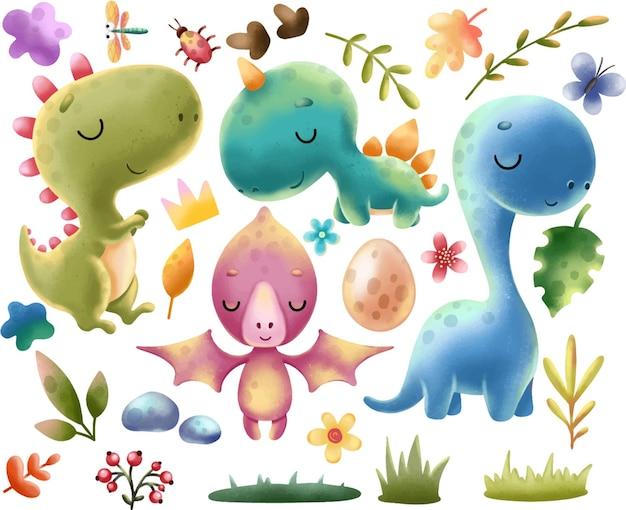 Динозавры клипарт набор милых ярких динозавров тиранозавр яйца листья камни