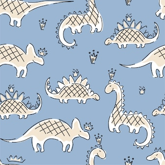 Dinosaurs and crowns children's seamless pattern. abstract hand made  background.