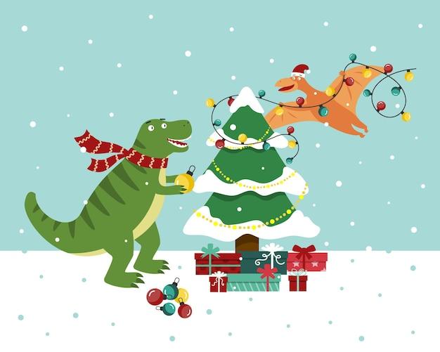 Dinosaurs decorate christmas tree. flat vector illustration