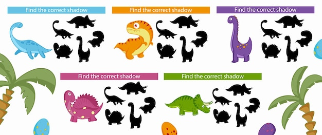 Dinosaurs. find the correct shadow. educational game for children. vector illustration, cartoon style.