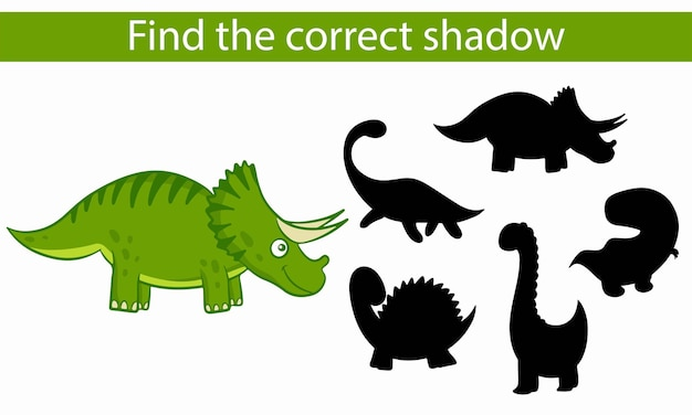 Динозавры. найдите правильную тень. развивающая игра для детей. векторные иллюстрации, мультяшном стиле.