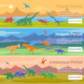 Dinosaurs flat banners