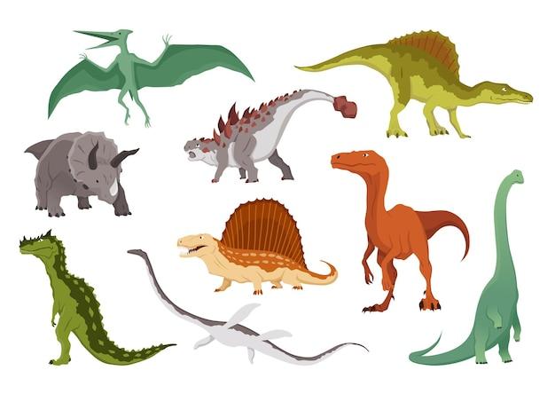 공룡 플랫 아이콘 모음입니다. 흰색 배경에 색색의 격리된 선사 시대 파충류 괴물입니다. 벡터 만화 공룡은 프테라노돈, 트리케라톱스, 알로사우루스, 디메트로돈 등을 포함합니다.